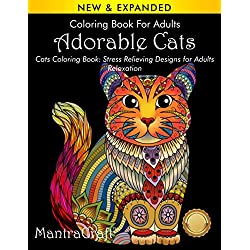Coloring Book For Adults: Adorable Cats: Cats Coloring Book: Stress Relieving Designs for Adults Relaxation