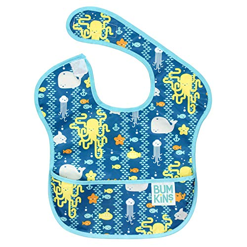 (Bumkins SuperBib, Baby Bib, Waterproof, Washable, Stain and Odor Resistant, 6-24 Months - Sea Friends)