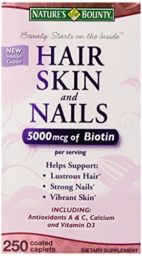 Nature's Bounty Hair Skin and Nails 5000 mcg of Biotin - 250 Coated Tablets Regular & Extra Strength (Extra Strength, Two Bottles each of 250 Softgels)