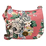 Cath Kidston Matt Oilcloth Turnlock Saddle Bag 16AW Norfolk Rose Colour Vintage Pink Crossbody Bag
