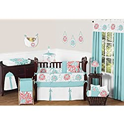Sweet Jojo Designs Unique Turquoise Blue and Coral Emma Flower for girls 9 Piece Floral Modern Crib Bedding Set