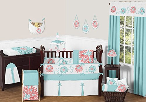 nique Turquoise Blue and Coral Emma Baby Girls 9 Piece Floral Modern Crib Bedding Set ()