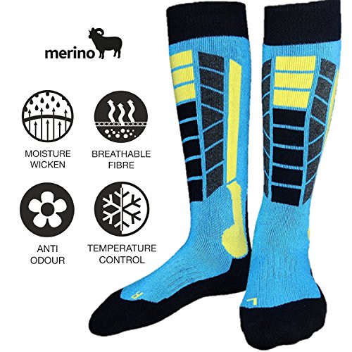 SkiSocks Best Warm Unisex Ski & Snowboard Sock, Merino Wool, Lightweight, Thin, Quick Dry, Anti-Bacterial, Moisture Control for Men and Women, Outdoor Over the Calf Socks (Snowboard Light Phd Womens)