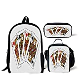 iPrint School Lunch Pen,Queen,Queens Poker Set Faces Hearts and Spades Gambling Theme Symbols Playing Cards,Black Red Yellow,Bags