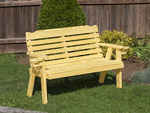 (Amish Heavy Duty 800 Lb Classic Park Style Pressure Treated Garden Bench with cup holders-5 Feet-GOLD-Made in USA)