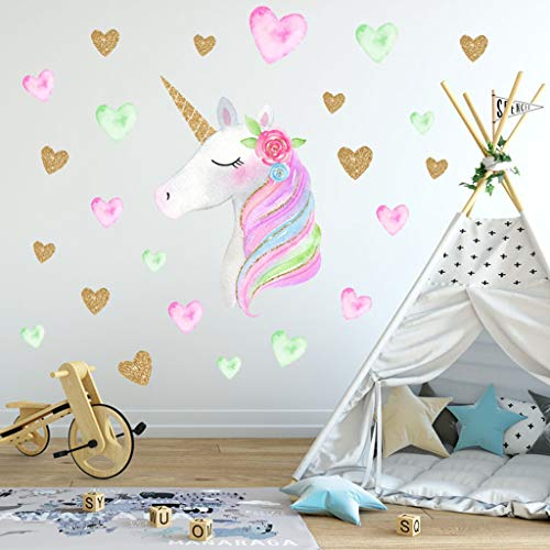 Cheap  Unicorn Wall Decals Sticker Decor Cute Rainbow Unicorn Heart Flower Vinyl Wall..
