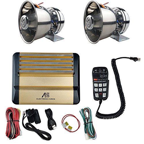600W High Power Sound Amplifier Police Siren Stainless Steel Speaker DC12V Multi-tones Wired Control with Mic Loudspeaker Emergency Electronic PA System for Police Cars - Multi Tone Horn