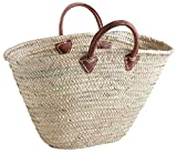 Large Beach Bag French Style Market Shopping Basket Woven Palm Leather Handles Chic Storage Laundry Holder