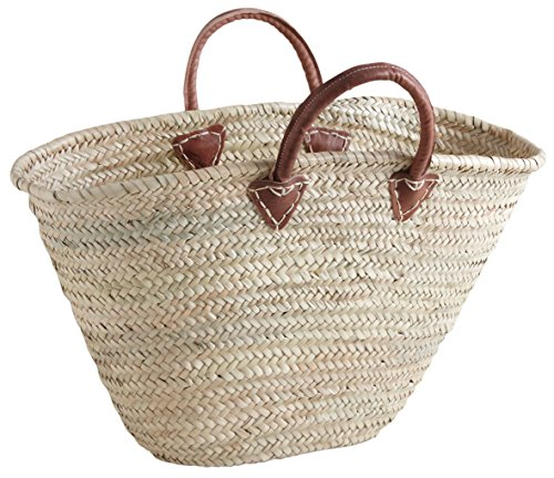 Handles Palm Beach Storage Woven Shopping Leather Bag Style Holder Laundry Basket French Large Chic Market vxqwC8SwR