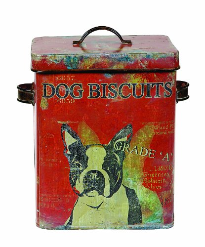 - Creative Co-op Vintage Tin Boston Terrier Dog Biscuit Container