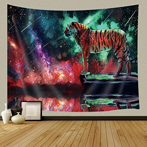 JAWO Fantasy Animal Decor Tapestry Wall Hanging, Universe Galaxy Tigers, Polyester Fabric Psychedelic Wall Tapestry for Home Living Room Bedroom Dorm Decor 90W X 70L Inches