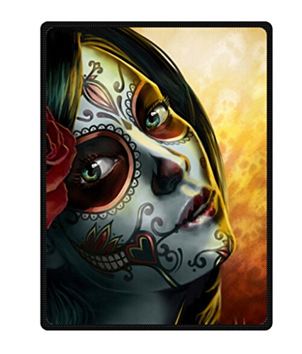 Day Of The Dead Sugar Skull Girl Design Soft Warm Fleece Blanket