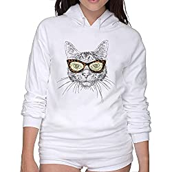 Warm Sweatshirts Fancy Popstar Cat Woman's Hoodies