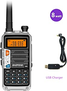 radtel Baofeng UV-860 (UV-5R Newest Gen) 8 Watts Dual Band Rechargeable Long Range Two Way Radio (136-174MHz VHF & 400-520MHz UHF) with USB Charger & Earpiece