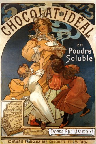 MOTHER CHILDREN DRINKING CHOCOLATE CHOCOLAT IDEAL BY ALPHONSE MUCHA LARGE VINTAGE POSTER REPRO ()