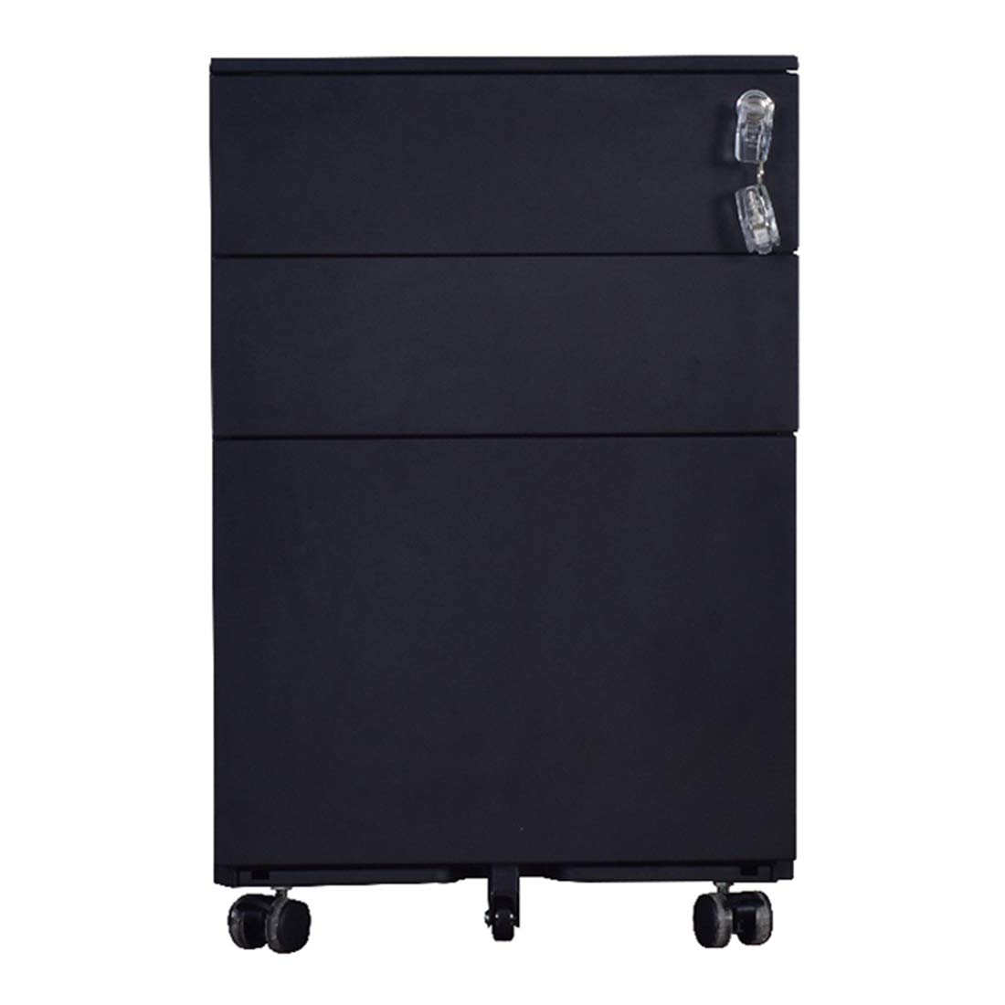 GREATMEET Metal 3 Drawer Mobile Filing Cabinet A4 F4 Storage with Wheel Disassembled Black