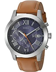 GUESS Mens Stainless Steel Leather Casual Watch, Color: Brown (Model: U0669G3)