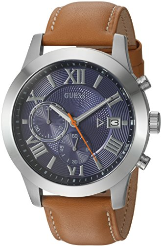 GUESS Men's Quartz Stainless Steel and Leather Casual Watch, Color:Brown (Model: U0669G3)