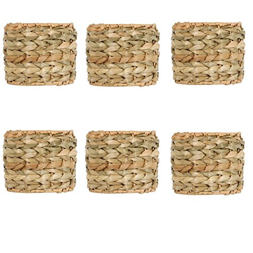 Upgradelights 5 Inch Clip On Seagrass Chandelier Lamp Shades (Set of six) -