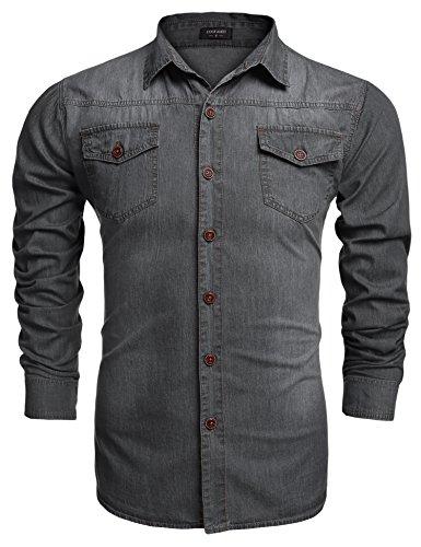 Coofandy Herren Hemd Jeans Hemd Langarm Brusttasche Knöpfe Figurbetont Denim Freizeit Langarm Hemden