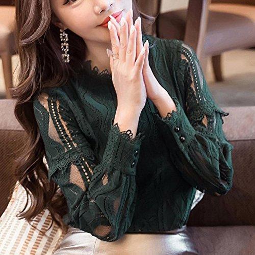 Taille Dcontracte Sexy Slim Blouse Unie Mode Top Longue Vert Volants Bustier Chemise Overmal Neck Manches O Couleur Vintage Bretelle sans Grande Femmes Shirt Simple T t qwCzgHE