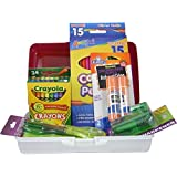 Art Supplies Bundle: Colored Pencils, Crayons, Pencil and Crayon Sharpeners, Glue Sticks, Scissors, and Storage Box. by Storex