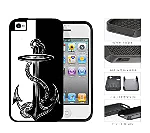 Boat Anchor Black And White 2-Piece Dual Layer High Impact Rubber Silicone Cell Phone Case Apple iPhone 4 4s by ruishername