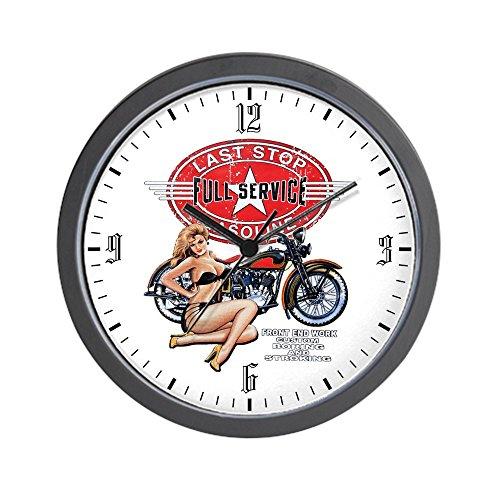 Wall Clock Last Stop Service Motorcycle Girl