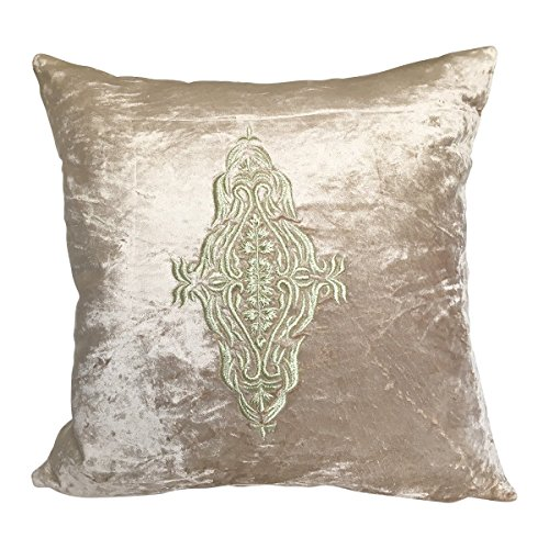 The White Petals - Couch Pillow Cover Damask Accent Pillow (1 Pillowcase, 24x24inches, Champagne Gold, Soft Cotton Velvet)