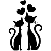 2 Cats Love Pattern Wall Sticker Creative Art Stickers Removable Decals for Living Room Bedroom Home Decoration