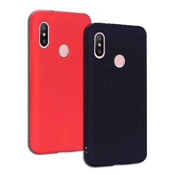 EuCase 2X Funda Xiaomi Mi 8 Lite Silicona Carcasa Xiaomi Mi 8 Lite Antigolpes Suave TPU Flexible Goma Mate Ultra Delgada Goma Color Cubierta Protector ...