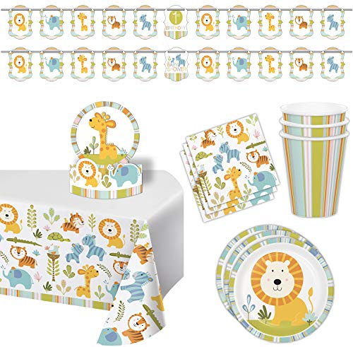 Zoo Animals Jungle Birthday Party Supplies and Baby Shower Set - 16 Guests - Plastic Table Cover, Balloon, Centerpiece, Double Theme Banners, Plates, Napkins, -