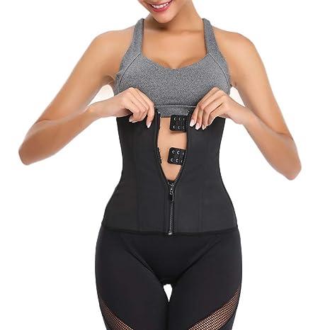 cdd930e39a6 Amazon.com  Allywit- Women Zipper Hook Hourglass Latex Underbust Corset  Waist Training Body Shaper  Home   Kitchen