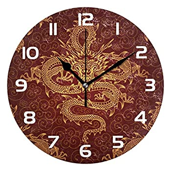 TropicalLife Asian Culture Traditional Chinese Dragon Decorative Wall Clock Acrylic Round Clocks Non Ticking Art Decor Bedroom Living Room Kitchen Bathroom Office School