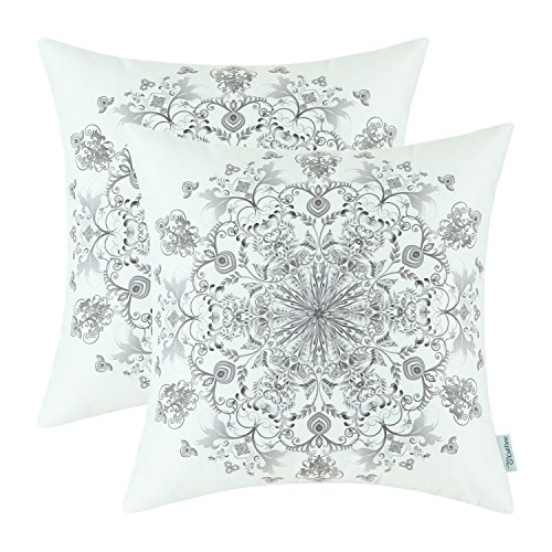 - CaliTime Pack of 2 Cozy Fleece Throw Pillow Cases Covers for Couch Bed Sofa Vintage Mandala Snowflake Floral 18 X 18 Inches Grey