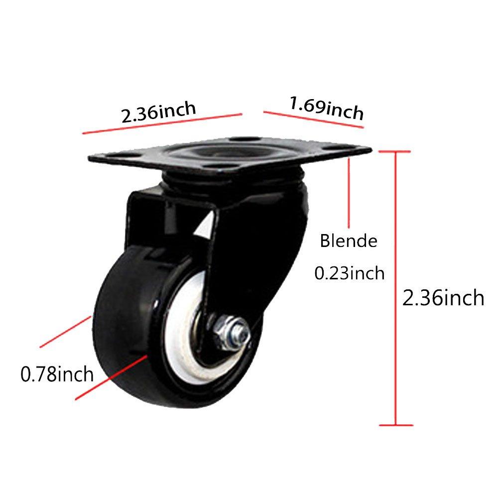 Schwarz Wheels Rollenset 2 * Standard, 2 * Bremse 4 St/ück M/öbel Drehstuhlrollen Lenkrollen Transportrollen Ruhiges Transportrollen Lenkrollen Schwenkrollen