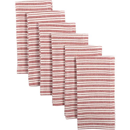 VHC Brands Americana Farmhouse Tabletop & Kitchen - Classic Stripe Napkin Set of 6, One Size, Red