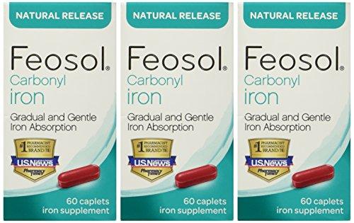 Feosol Carbonyl Iron Supplement Caplets Natural Release 60 C