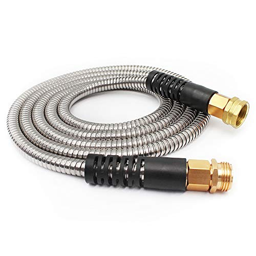 Cesun 10 Feet Metal Garden Hose, Lightweight Portable Durable Cool to The Touch Drinking Water Safe (10 Feet SS Female to Male)