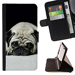 Momo Phone Case / Flip Funda de Cuero Case Cover - Pug Dog peque?os Pelo Corto ojos grandes de Brown - Samsung ALPHA G850