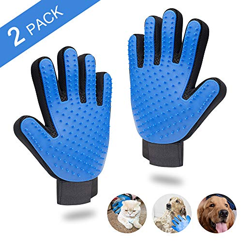 MIERES Pet Grooming Gloves, Enhanced Five Finger Design, Efficient Hair Remover Comfortable for Cats, Dogs & Horses…