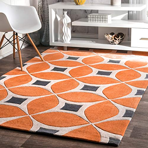 nuLOOM Contemporary Area Rug, 3' x 5', Deep Orange (Area Contemporary Rugs Clearance)