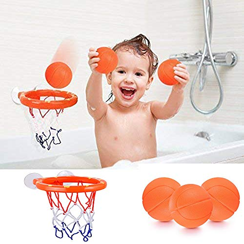 WedFeir Basketball Hoop and Balls Playset for Boys and Girls, Bathtub Shooting Game Bath Toy for Kids and Toddlers Gift Set, Suctions Cups That Stick to Most Smooth Surface (3 Balls Included)