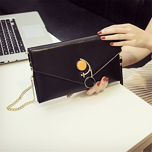 Zipper Shoulder Black PU Messenger Type Sunbobo Strap Magnetic Bag Retro Envelope Shoulder Bag Simple qxwTxtOH