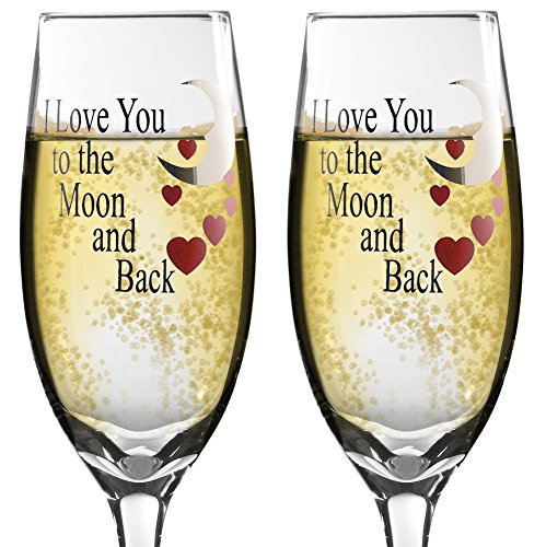 Valentine's Day Glasses - Set of 2 Champagne Glasses with I Love You to the Moon and Back - Hand Wash