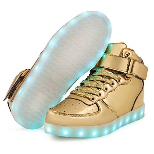 Saguaro Tm 8 Kleuren Led Light-up Paar Dames Heren Sportschoenen Sneakers Usb Opladen Voor Valentijnsdag Kerst Halloween 5-gouden Hoge Top