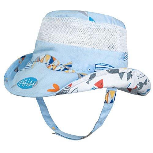Fish Sun Hat - Eriso Baby Toddler Plaid Bucket Reversible Sun Protection Animal Hat (4-8 Years, Fish)
