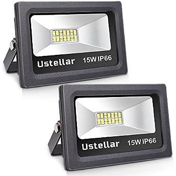 Ustellar 2 Pack 1200lm 15W LED Flood Light, IP66 Waterproof, Outdoor Super Bright Security Lights, Floodlight Landscape Wall Lights, 5000K Daylight White