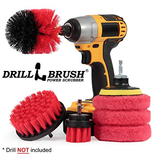 Drillbrush - Drill Brush Kit - Rotary Drill Brush Cordless Scrubber - Deck Scrub Brush - Scrub Brush Kit - Concrete Cleaner Brush - Marble Brush - Brick Cleaner - Stone Cleaning - Ceramic Tile Cleaner