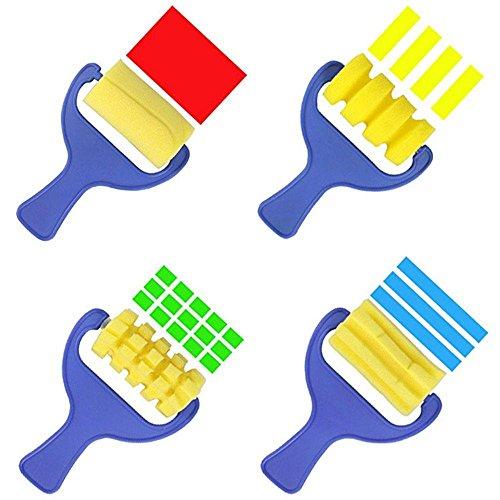 Junbuoom 4点 1セット クリエイティブ DIY プラスチック ハンドル スポンジ 子供 絵 ブラシ 描画 おもちゃ グラフィティ